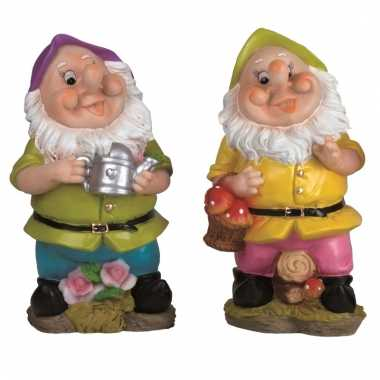 2x tuindecoratie beeldjes kabouters dwergen 25 cm paars groen tuinkabouter