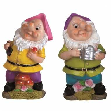 2x tuindecoratie beeldjes kabouters/dwergen 25 cm roze/paars tuinkabo