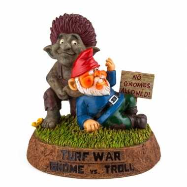 Gnoom beeldje met trol 25 cm tuinkabouter