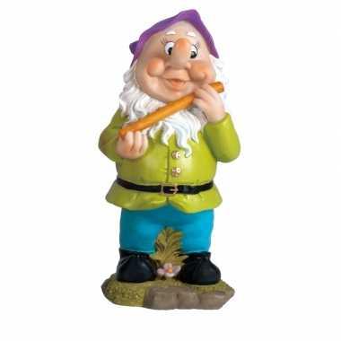 Polystone kabouter beeld michel dwarsfluit 30 cm met paarse muts tuin