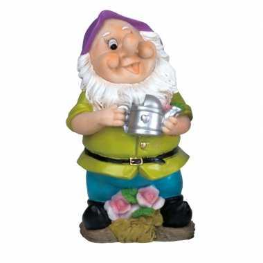 Polystone kabouter beeld tijs gieter 30 cm met paarse muts tuinkabout