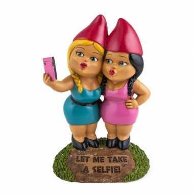 Selfie zussen tuin gnoom 23 cm tuinkabouter