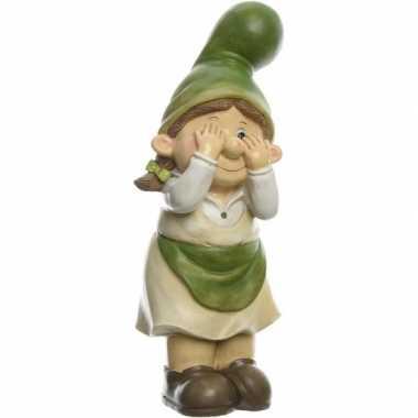 Tuin decoratie beeld tuinkabouter vrouwtje die gluurt 36 cm nieuwe woning/verhuizing cadeau