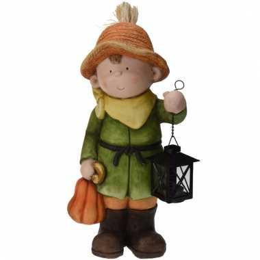 Tuinbeeld jongen met lantaarn 43 cm tuinkabouter