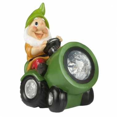 Tuinbeeld kabouter op groene tracker met led-licht 18 cm tuinkabouter
