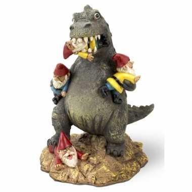 Tuinbeeldje gnoom met t-rex 23 cm tuinkabouter