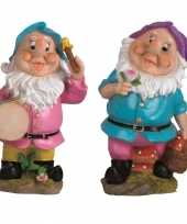 2x tuindecoratie beeldjes kabouters dwergen 25 cm blauw paars tuinkabouter 10112028