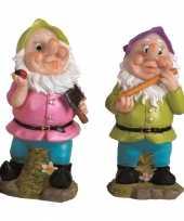 2x tuindecoratie beeldjes kabouters dwergen 25 cm groen paars tuinkabouter 10112057