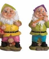 2x tuindecoratie beeldjes kabouters dwergen 25 cm groen paars tuinkabouter