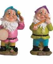 2x tuindecoratie beeldjes kabouters dwergen 25 cm muzikanten blauw paars tuinkabouter