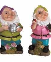 2x tuindecoratie beeldjes kabouters dwergen 25 cm paars groen tuinkabouter 10112046