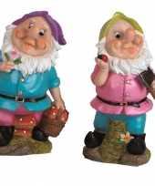 2x tuindecoratie beeldjes kabouters dwergen 25 cm paars groen tuinkabouter 10112053