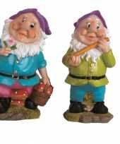 2x tuindecoratie beeldjes kabouters dwergen 25 cm paars tuinkabouter 10112054
