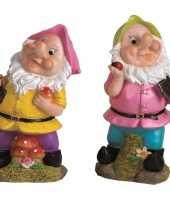 2x tuindecoratie beeldjes kabouters dwergen 25 cm roze groen tuinkabouter 10112038